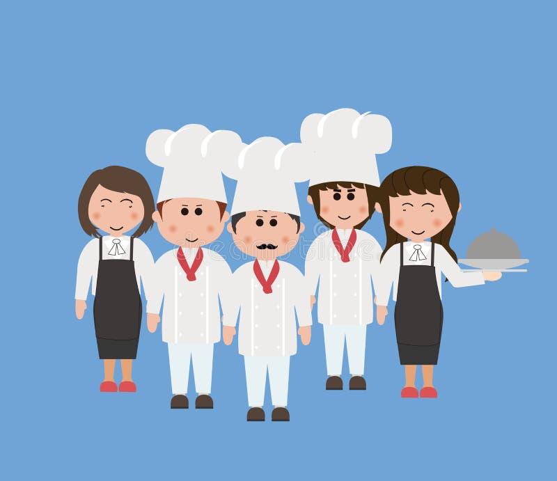 Besetzung, Köche und Kellner lizenzfreie stockfotos