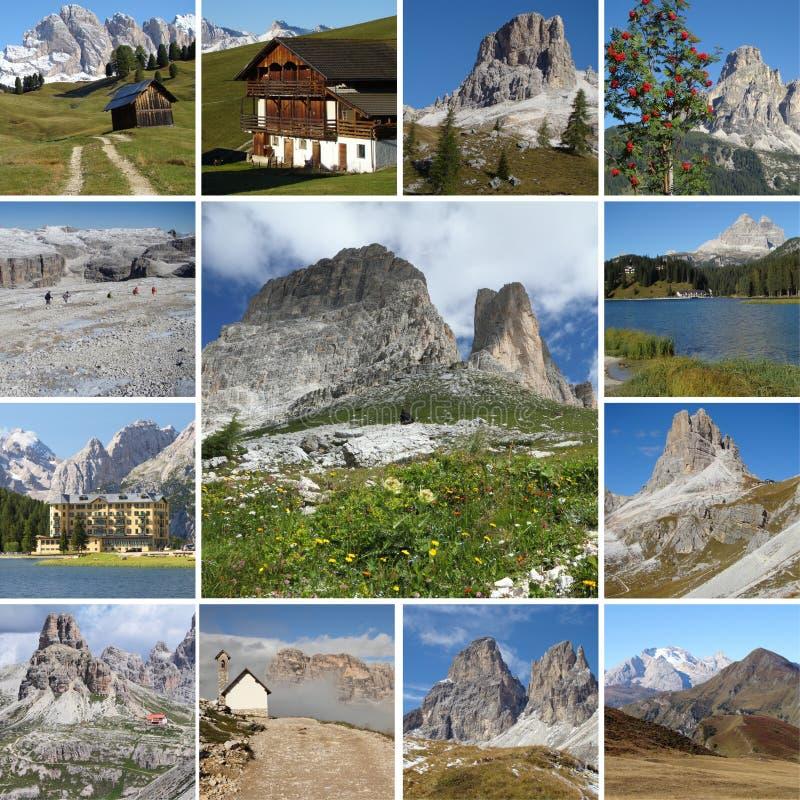 Besichtigencollage der Dolomiti Berge in Italien lizenzfreies stockfoto