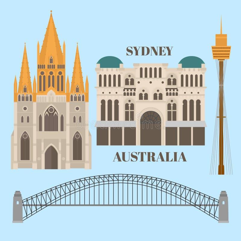 Besichtigungs-und Markstein Architektur von Australien stock abbildung