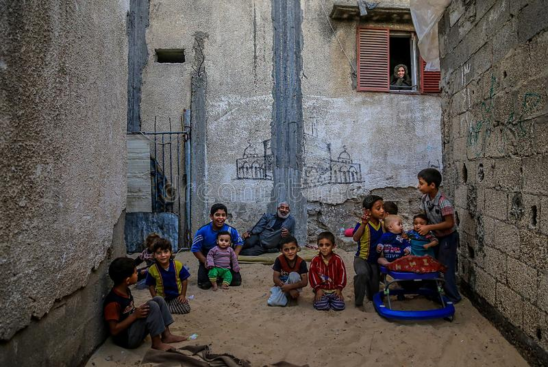 In besieged Gaza, poverty exacerbates child malnutrition royalty free stock images