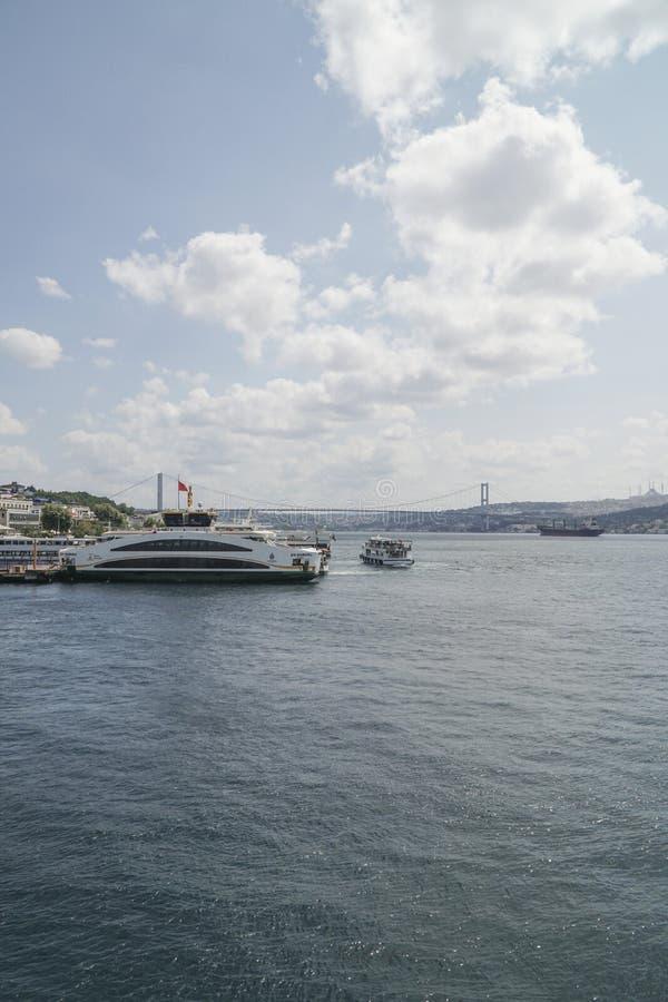 Besiktas-Bezirk mit Bosphorus-Brückenansicht in Istanbul die Türkei lizenzfreie stockfotografie