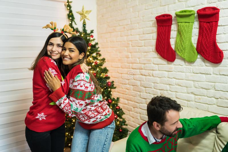 Besites For Life During Christmas Party At Home royalty free stock photo