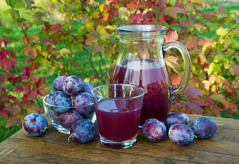Beskära fruktsaft i karaffen och exponeringsglaset med plommoner royaltyfria foton