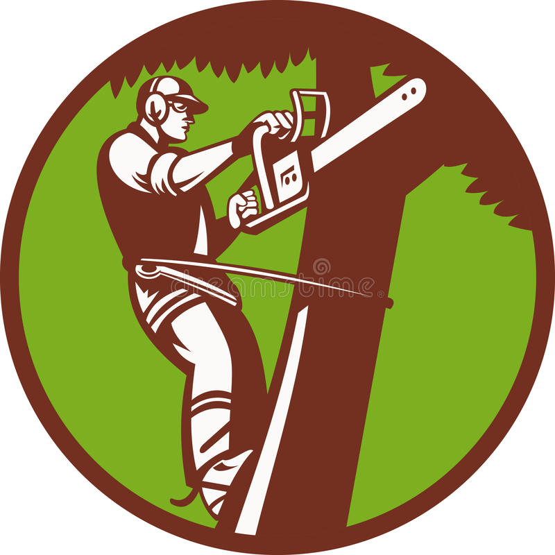 beskärare för tree för arboristprunerkirurg vektor illustrationer