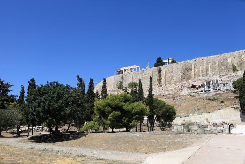 Beskåda av Acropolis av Athens royaltyfria foton