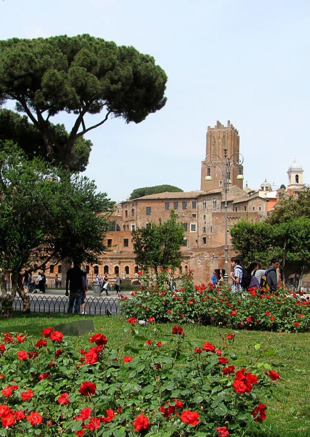 Beskåda av en forntida Roman Forum med kolonner och fördärvar omkring i Rome, Italien fotografering för bildbyråer