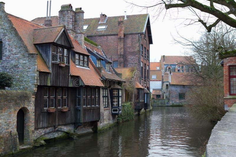 Beskåda av kanalerna av Bruges #2 royaltyfria bilder