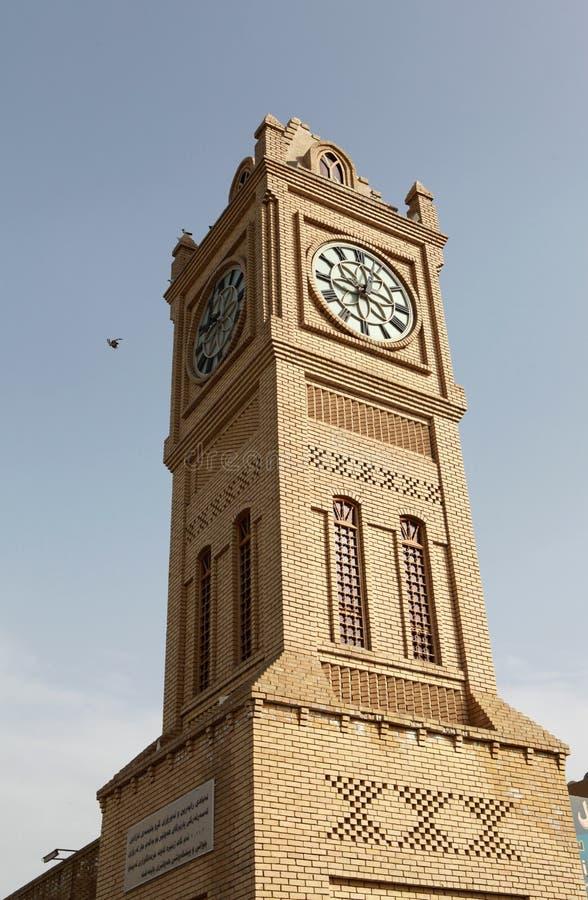 Ta tid på står hög i Erbil, Irak. arkivbild