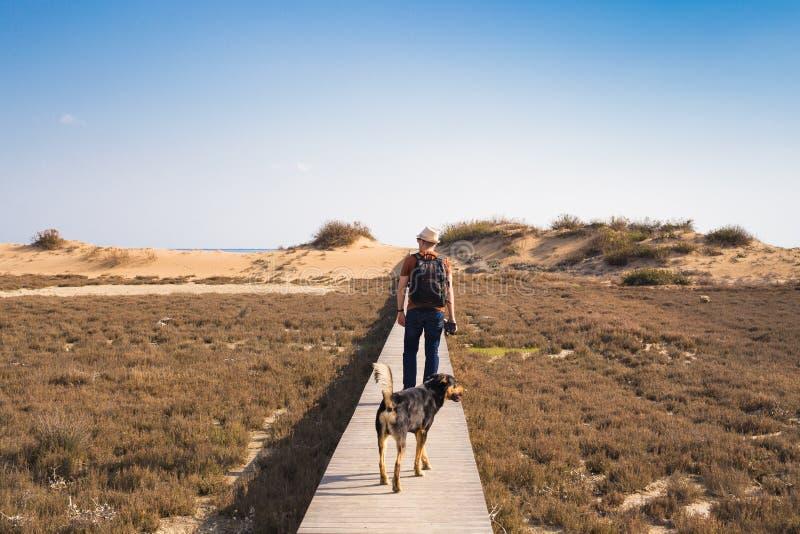 Beskåda bakifrån av en man som går med hans hund på en väg som leder till och med härligt landskap royaltyfri fotografi