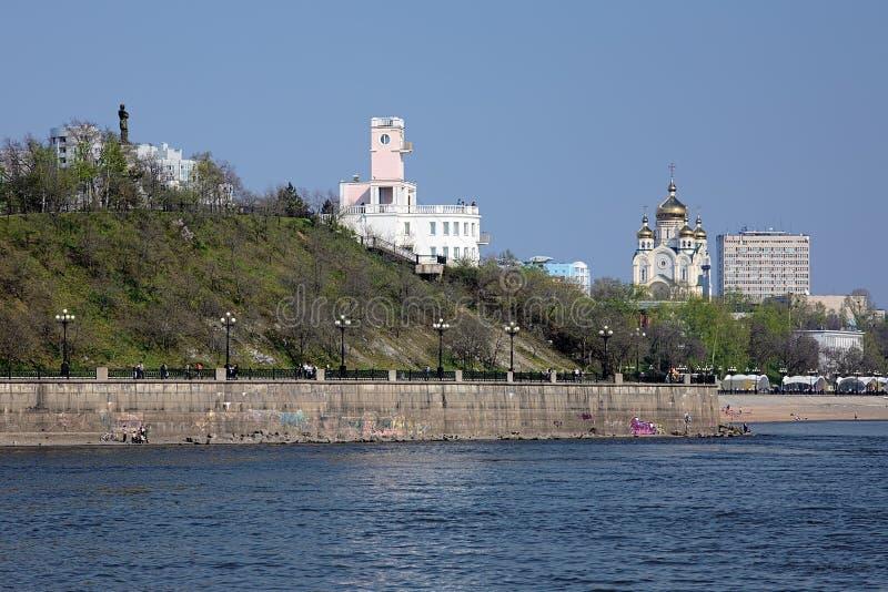 Beskåda från Amur River på Khabarovsk, Far East, Ryssland royaltyfri bild