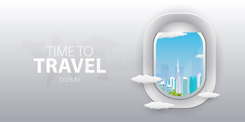 Beskåda från flygplan Flygfönster Dubai Plant rengöringsdukvektorbaner stock illustrationer