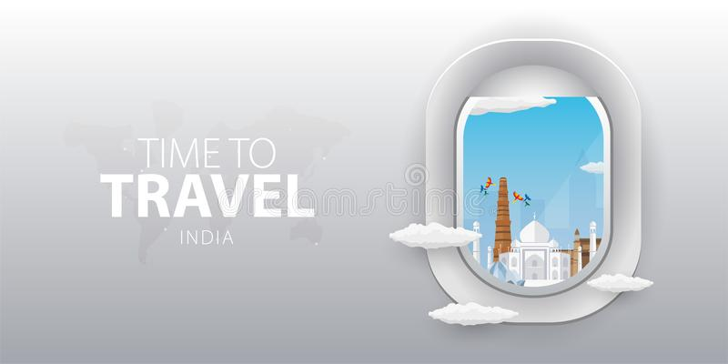 Beskåda från flygplan Flygfönster india Plant rengöringsdukvektorbaner royaltyfri illustrationer