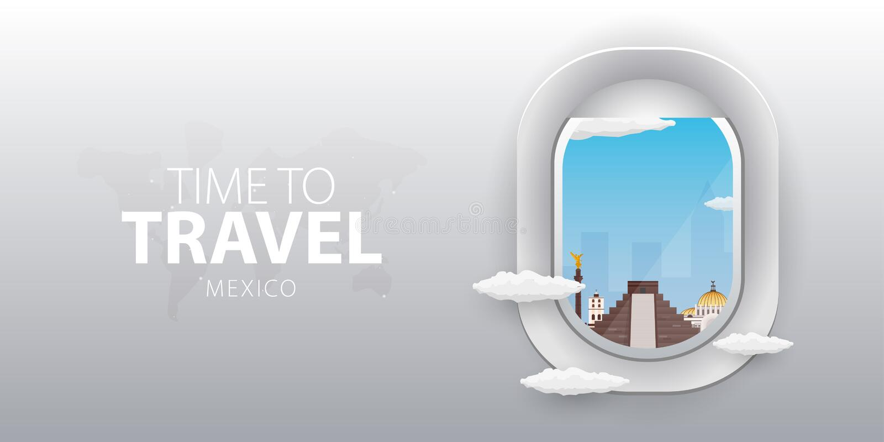 Beskåda från flygplan Flygfönster mexico Plant rengöringsdukvektorbaner stock illustrationer