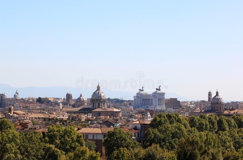 Beskåda på Rome från Passeggiataen di Gianicolo, Italien arkivbilder