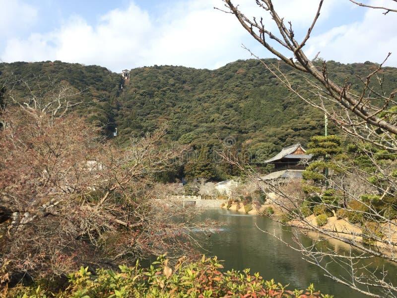 Beskåda ropewayen från runt om staden, Iwakuni, Yamaguchi, Japan arkivbilder