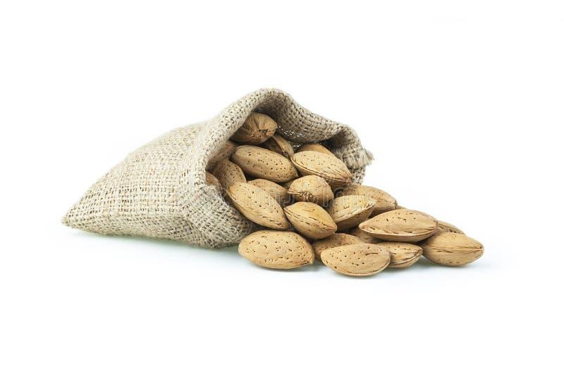 Besköt mandlar i säckväv plundrar på den vita bakgrunden hög eller bunt av mandlar Mandelbakgrund, healty mat för lever och socke arkivfoto