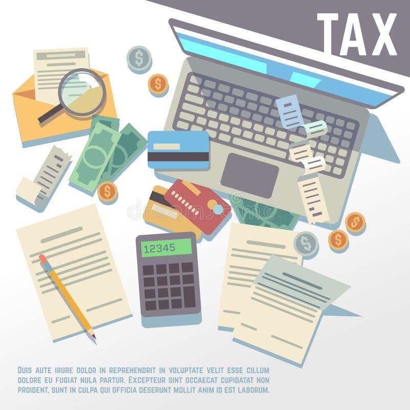 Beskatta beräkningen, den finansiella rapporten, redovisande skattkonsultation, betalning av skuldvektorbakgrund royaltyfri illustrationer