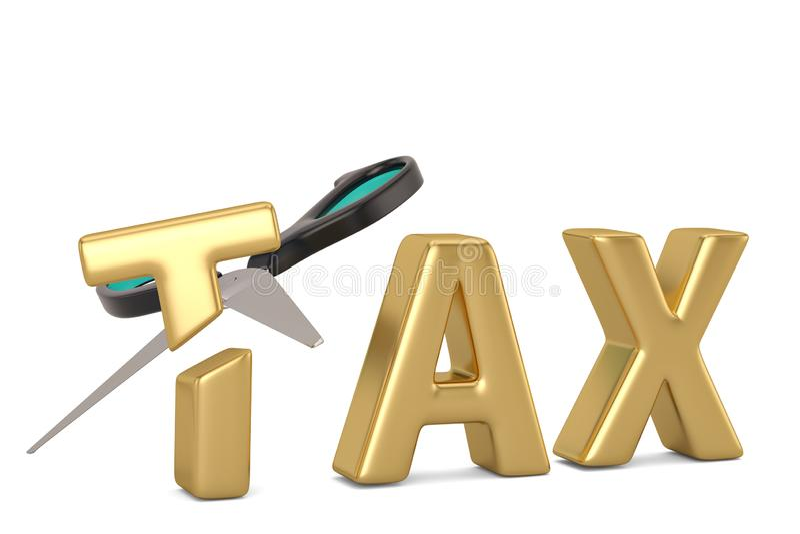 Beskatta ordet och scissors skattesänkningbegreppet som isoleras på den vita backgrouen vektor illustrationer