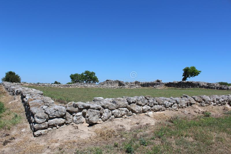 Beskickning Rosario Ruins Goliad Texas arkivfoto