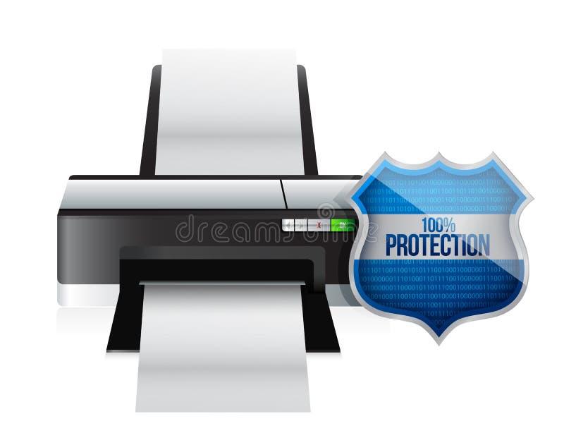Beskyddande för skrivarsköldsäkerhet royaltyfri illustrationer