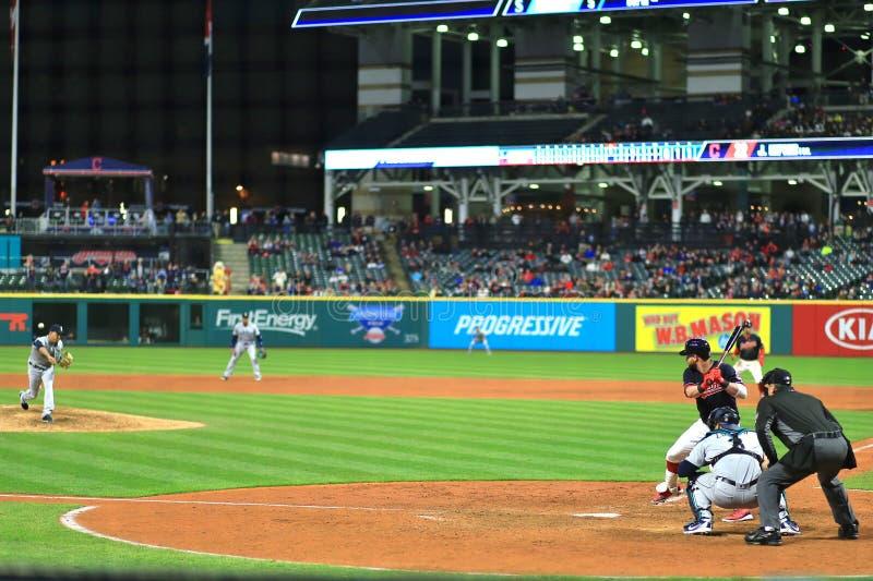 Beslag bij de plaat, Cleveland Indians Baseball-spel royalty-vrije stock fotografie
