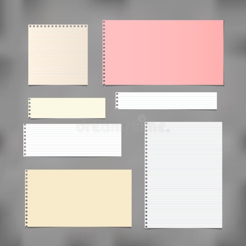 Beslist die wit, gestreepte en kleurrijke nota, voorbeeldenboek, notitieboekjedocument op grijze achtergrond wordt geplakt vector illustratie