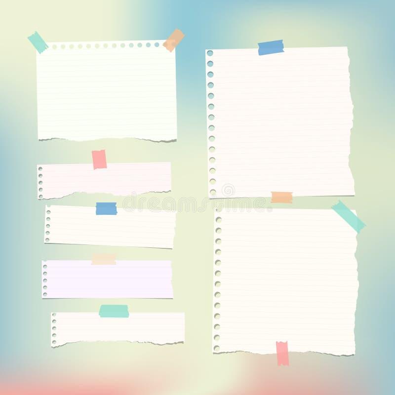Beslist die wit, nota, notitieboekje, voorbeeldenboekdocument stroken en bladen op kleurrijke gradiant achtergrond wordt geplakt royalty-vrije illustratie