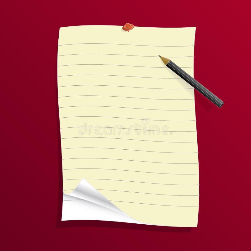 Beslist document met potlood en speld vector illustratie