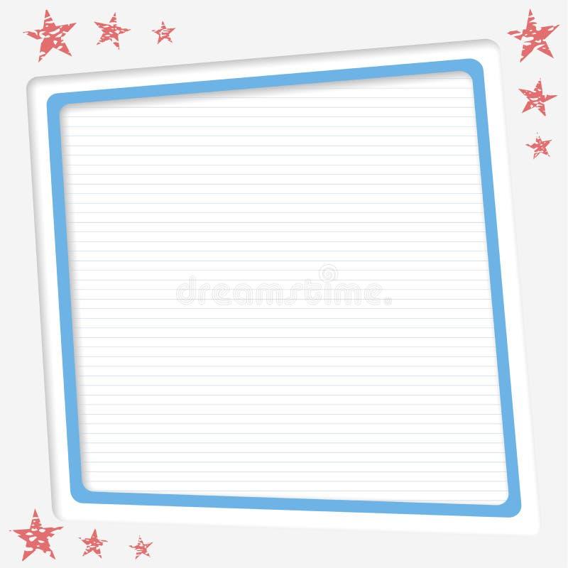 Beslist wit, gestreept exemplaardocument, vectorkader, tekstvakje met rode sterren vector illustratie