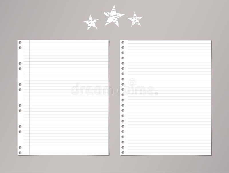 Beslist wit, gestreept notitieboekje, voorbeeldenboekdocument bladen en sterren op grijze achtergrond vector illustratie