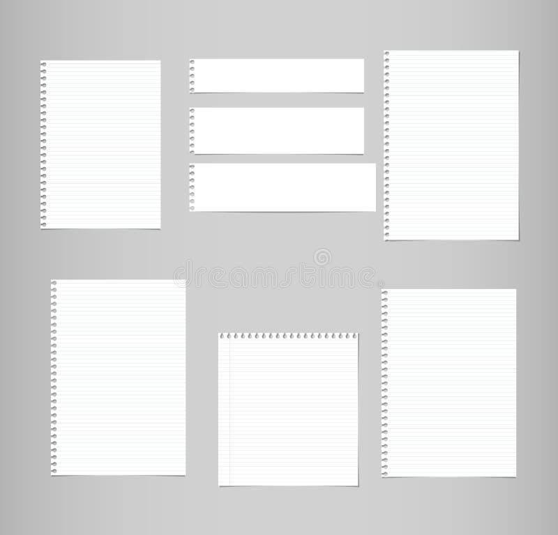Beslist wit, gevoerde die nota, voorbeeldenboek, notitieboekjedocument bladen op grijze achtergrond worden geplakt royalty-vrije illustratie