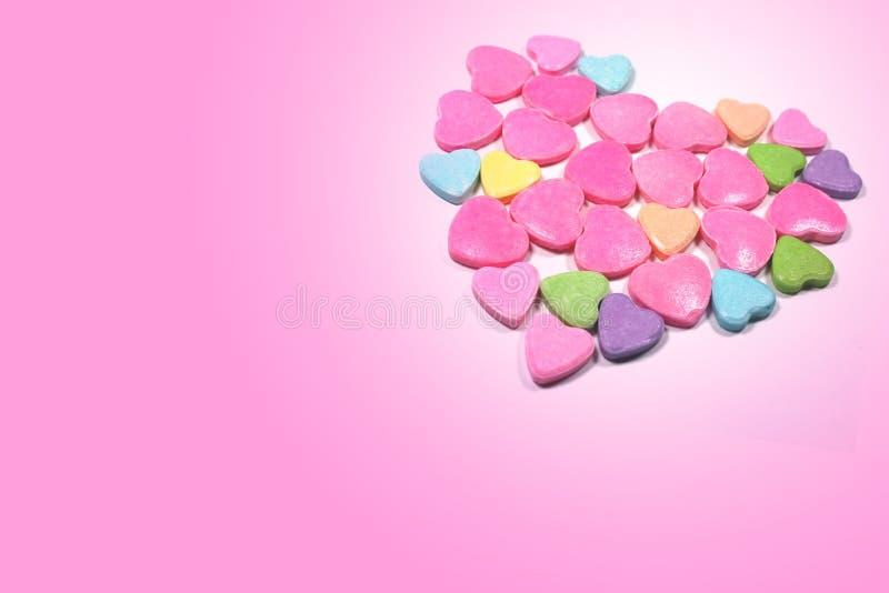 Besloten omhoog groep kleurrijk liefdesuikergoed royalty-vrije stock afbeeldingen