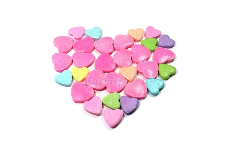 Besloten omhoog groep kleurrijk liefdesuikergoed stock afbeelding