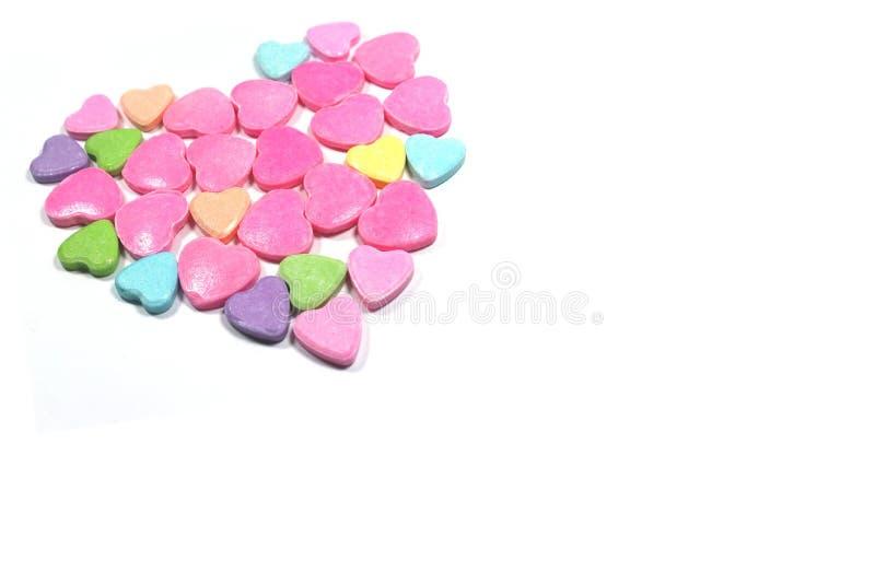 Besloten omhoog groep kleurrijk liefdesuikergoed stock foto