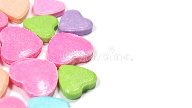 Besloten omhoog groep kleurrijk liefdesuikergoed royalty-vrije stock afbeelding
