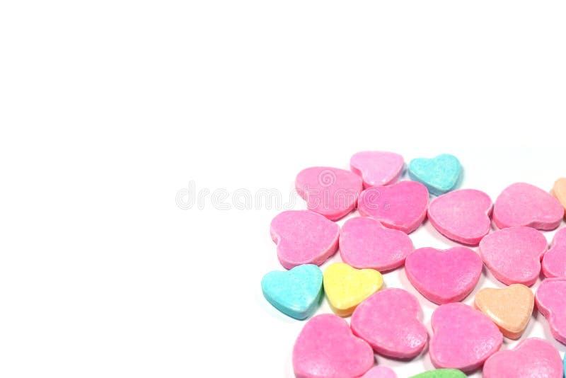 Besloten omhoog groep kleurrijk liefdesuikergoed royalty-vrije stock foto's