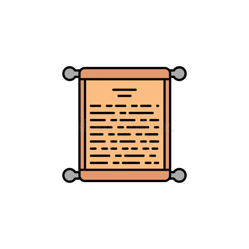 besluit, document, perkament, rol, penpictogram Element van het pictogram van de geschiedeniskleur voor mobiele concept en webtoe stock illustratie