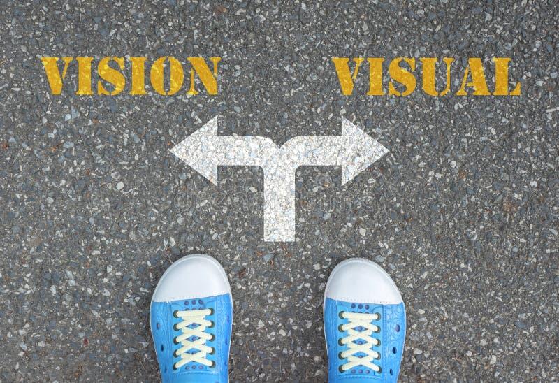 Besluit om bij de dwarsweg te maken - visie of visueel royalty-vrije stock foto