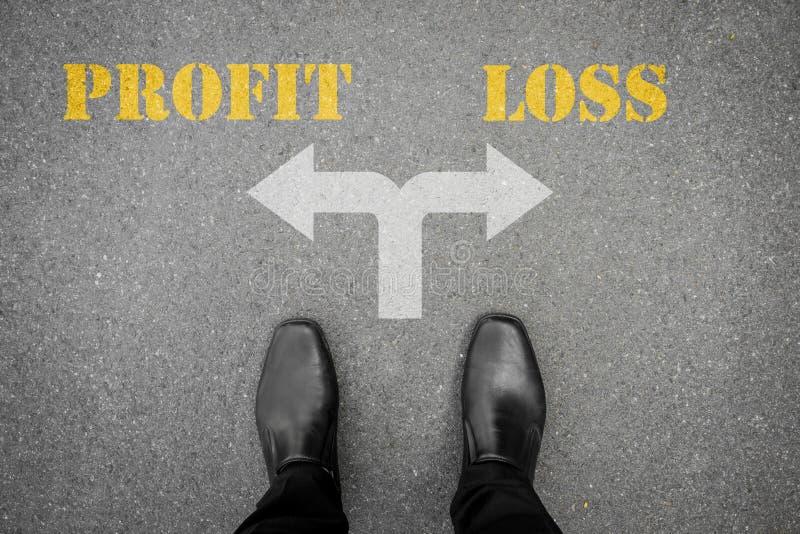 Besluit om bij de dwarsweg te maken - winst of verlies royalty-vrije stock foto's
