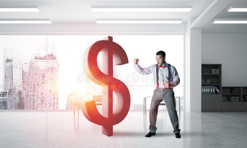Beslutsam bankirman i inre brytande dollardiagram för modernt kontor royaltyfri illustrationer
