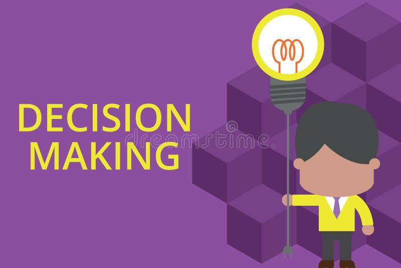 Beslutsfattande f?r handskrifttexthandstil Begrepp som betyder handlingen av att avgöra mellan två eller mer stå för möjligheter royaltyfri illustrationer