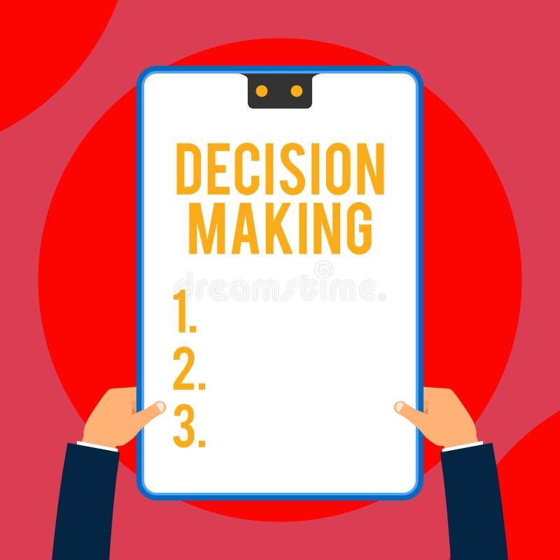 Beslutsfattande f?r textteckenvisning Begreppsmässigt foto handlingen av att avgöra mellan två eller mer ledare för möjligheter t stock illustrationer