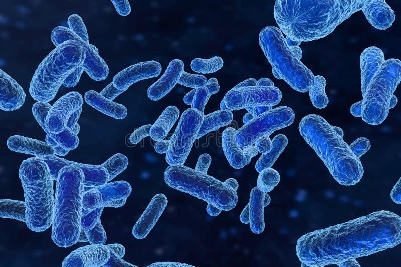 Besmettelijk virus met oppervlaktedetails op blauwe achtergrond, het 3d teruggeven royalty-vrije illustratie