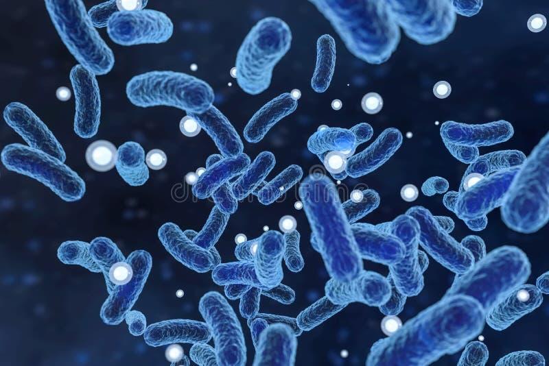 Besmettelijk virus met oppervlaktedetails op blauwe achtergrond, het 3d teruggeven stock illustratie
