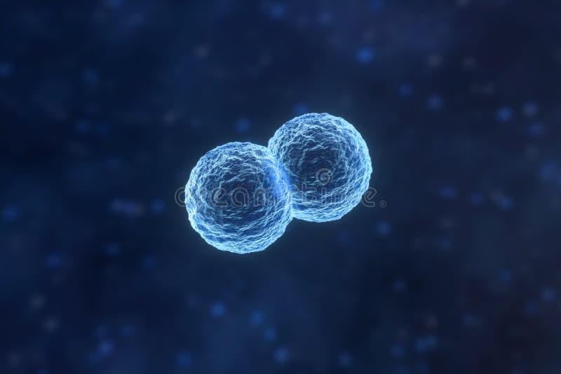 Besmettelijk virus met oppervlaktedetails op blauwe achtergrond, het 3d teruggeven vector illustratie