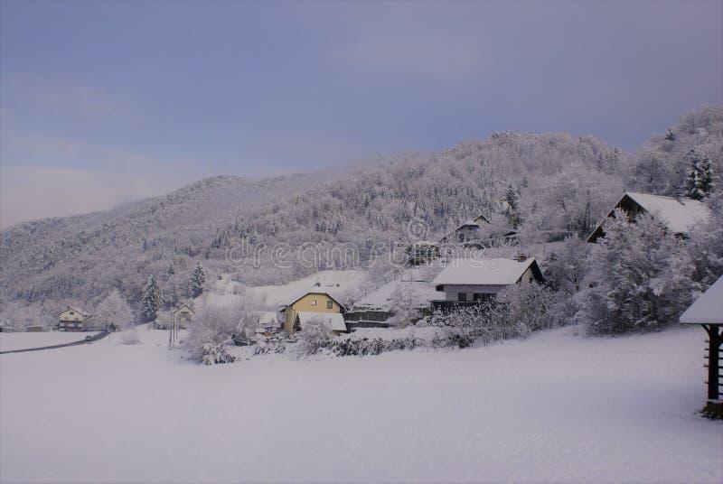 Besnica, una valle di Snowy immagine stock libera da diritti