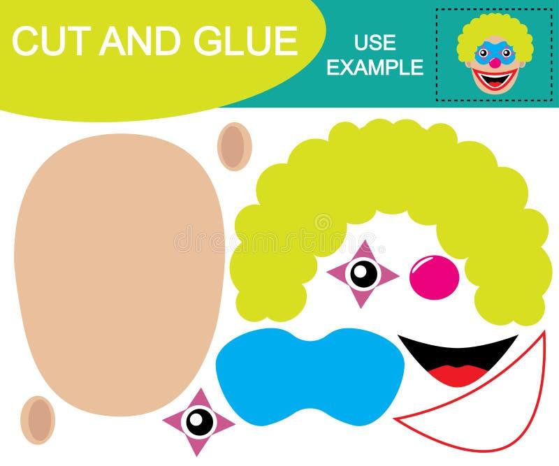 Besnoeiing en lijm om beeld van hoofd van clown tot stand te brengen Onderwijs spel stock illustratie