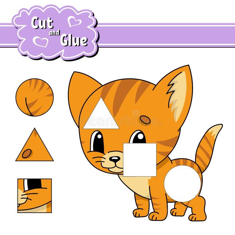 Besnoeiing en lijm Onderwijs die aantekenvel ontwikkelen Activiteitenpagina Spel voor kinderen Geïsoleerde vectorillustratie in l vector illustratie