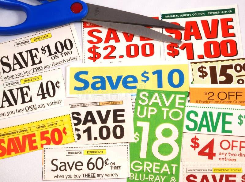 Besnoeiing omhoog sommige coupons stock fotografie
