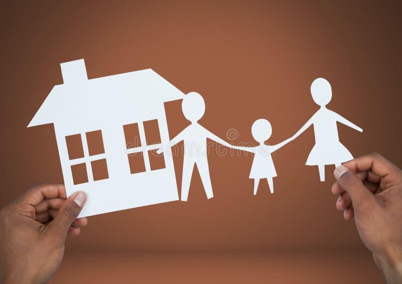 Besnoeiing outs van huis en familie in handen vector illustratie